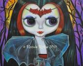 CUTE VAMPIRE DOLL BAT BLYTHE GOTHIC MINI ART PRINT BIG EYE PICTURE BY BLONDE BLYTHE