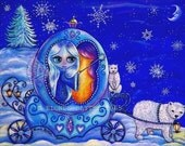 WINTER CARRIAGE RIDE FAIRY MAGICAL SNOWFLAKE POLAR BEARS BIG EYE MINI ART PRINT PICTURE