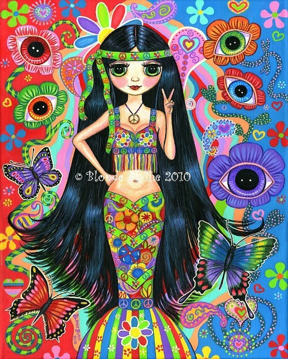 HIPPIE GIRL MERMAID PSYCHEDELIC 1960S 1970S BLYTHE DOLL BIG
