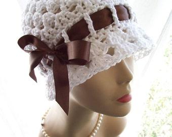White All Cotton Sun Hat Cloche, Brown Satin Ribbon