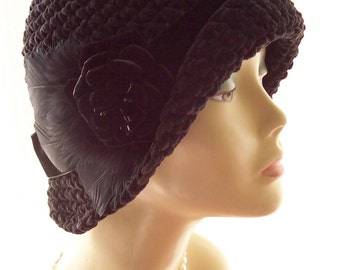 Black Handmade 1920s 20s Flapper Cloche Flapper Hat Velvet Suede Rose Feathers