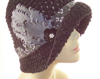 New Winter Black Handmade Suede Cloche Hat Feathers