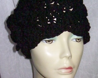 Black Warm Winter Cloche 1920s Flapper Hat Rose