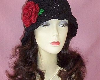 Hand Crochet Flapper 1920s Cloche Vintage Style Hat, Black with Autumn Red Flower