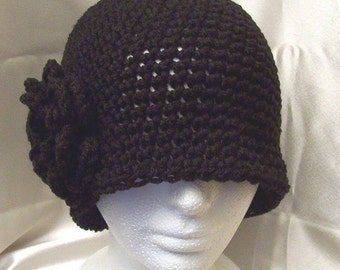 NWT New Black Cloche Bell 20s Flapper Winter Hat Flower