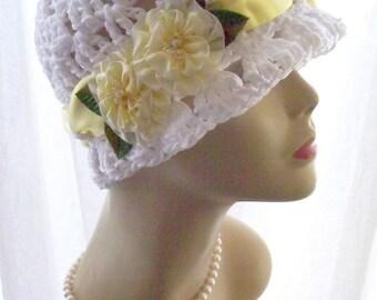 White Cotton Cloche Flapper Sun Hat Sunshine Flowers