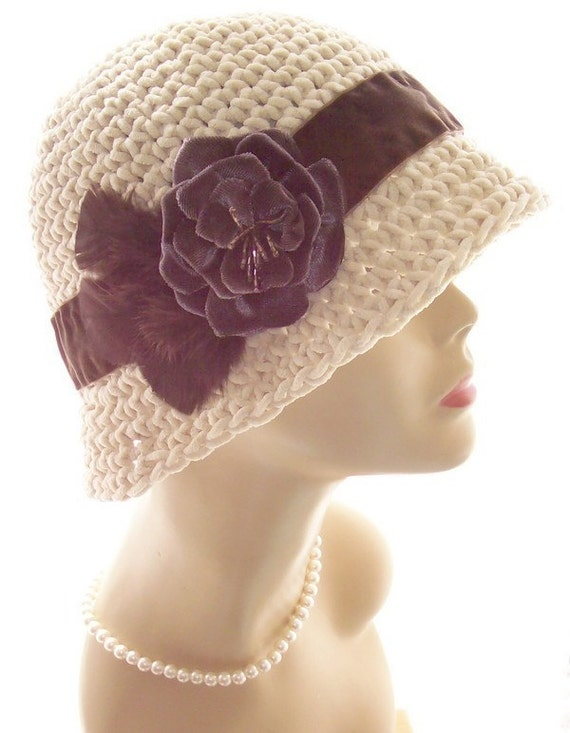 Suede Cloche 1920s Style Flapper Hat Rose Feathers