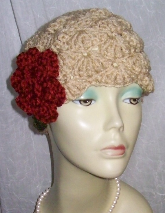 Tan Beige Warm Winter Cloche 1920s Flapper Hat Rose