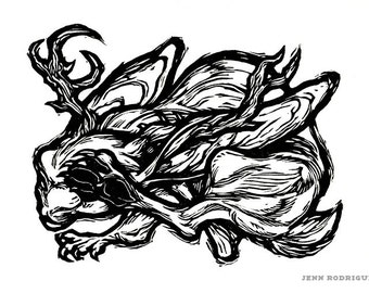 """Hand-pulled Linocut - """"Year of the Jackalope"""""""