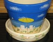 Large Flower Pot Saucer Hand Painted Beach Scene Design Ceramic Handcrafted