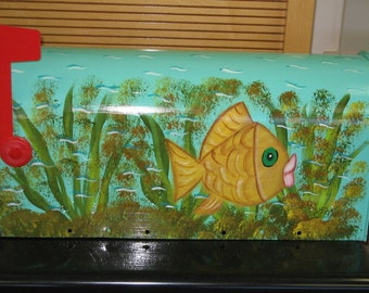 Hand Painted Mailbox with Fun Funky Fish Design