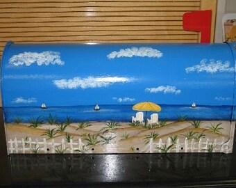 Handpainted Beach Scene Design Mailbox