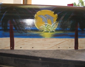 Handpainted T2 Mailbox with Dolphin Sunset Design