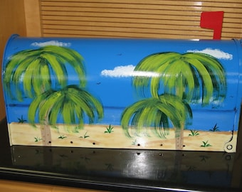 Handpainted Tropical Beach Design Mailbox