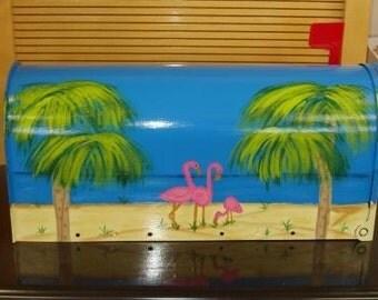 Handpainted Mailbox with Flamingo Beach Scene