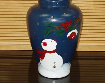 Ceramic Vase Handpainted with Snowman Scene Holiday Home Decor