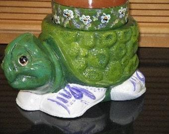Turtle Flower Pot Terra Cotta Flower Pot Insert Hand Painted