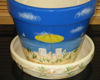 Large Flower Pot Saucer Hand Painted Beach Scene Design Ceramic Handcrafted