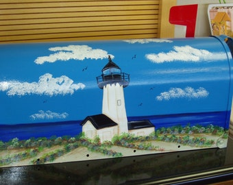 Handpainted Mailbox with Lighthouse Design