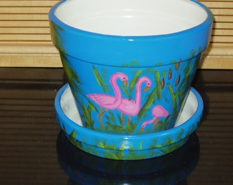 Large Ceramic Flower Pot with Saucer Hand Painted Flamingos Cattails and Palm Trees