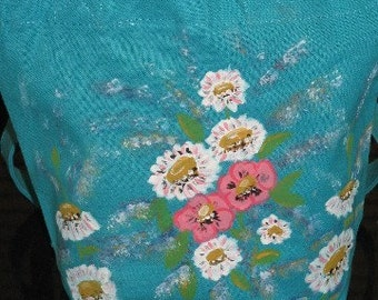 Cotton Mini Gift Tote Dasiy Floral Design Hand Painted