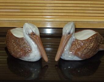 Pair of indoor or outdoor ceramic Pelican Planters or Flower Pots