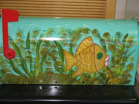 Hand Painted Mailbox with Fun Funky Fish Design  Funky Painted Mailboxes