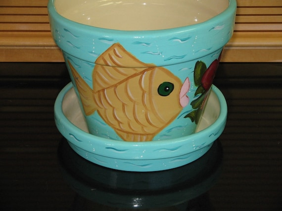 Large Ceramic Flower Pot Planter Funky Fish Hibiscus Design Handcrafted Hand Painted
