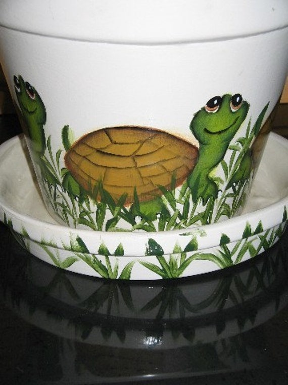 Big Pot Painting Designs Of Large Flower Pot Hand Painted Turtle Design Ceramic