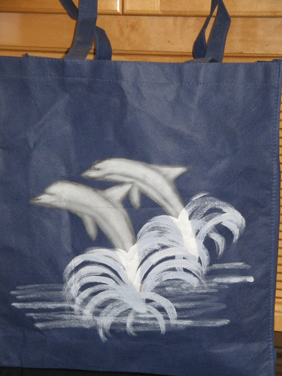Grocery Tote Bag Dolphins Design Large Reusable Bag Dolphin