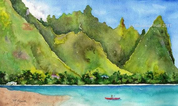 Bali Hai ORIGINAL Hawaii seasccape landscape tropical Watercolor by Melanie Pruitt