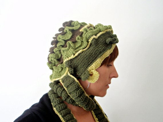 RESERVED FOR JUDAH Hat with scarflet: Lettuce go to the Mothership
