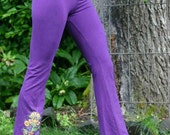 SIZE X LARGE Royal Purple  dyed Yoga Pants with flower screen print