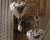 Mothers Day Earrings Hammered Sterling Silver Hearts and Pearl