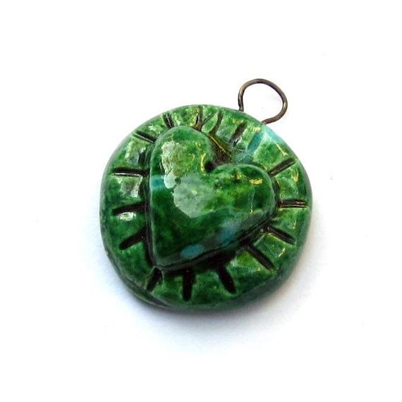Mystic Green Heart Pendant Handmade
