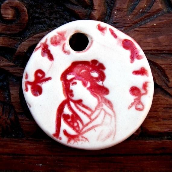Red Cherry Blossom Geisha Girl Ceramic Pendant Handmade
