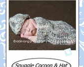 PATTERN Snuggle Newborn Cocoon and Hat Photo Prop Instant Download