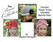 PATTERN 3 Crochet Girls Boutique Beanie Hat Collection Instant Download