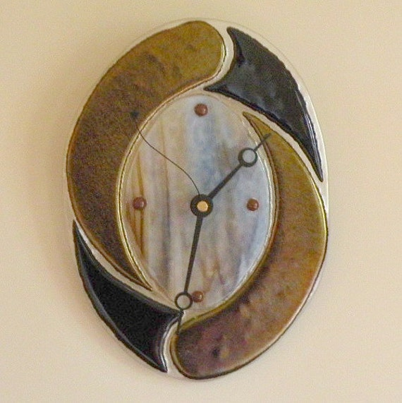 Galaxy fused glass wall clock by blueheron on etsy for Fused glass wall clocks