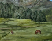 Catch Me if You Want a Ride Horse Landscape Original Oil Painting by Artist  Debra Alouise