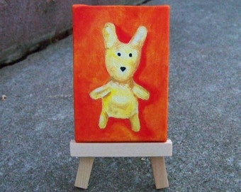 Original Oil Painting Bunny Rabbit Mini Painting Dollhouse Aceo Colloectible Art Nursery Room by Artitst debra alouise