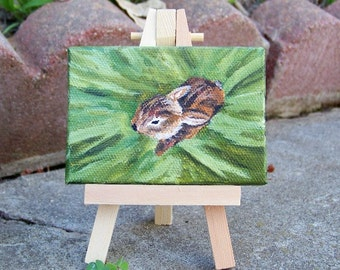 Baby Bunny Rabbit in the Hay Original Painting Dollhouse Animal by Artist Debra Alouise