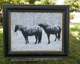 Horsesicles Winter Horse Framed Original Landscape Painting Art Horses in the Snow by Debra Alouise