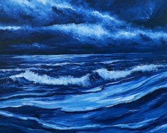 Moonlight Shore Seascape Waves Original Oil Painting Seascape Beach Waves