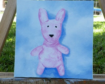 Wabbit Original Oil Painting Poppy Portrait Bunny Rabbit by Artist debra alouise