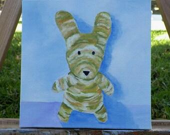 Wabbit Original Oil Painting Sweetpea Portrait Bunny Rabbit by Artist debra alouise