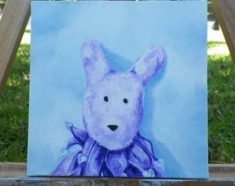 Wabbit Original Oil Painting Jasper Portrait Bunny Rabbit by Artist debra alouise