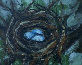 Natures Nest Birds Nest with Eggs Original Painting by Artist debra alouise