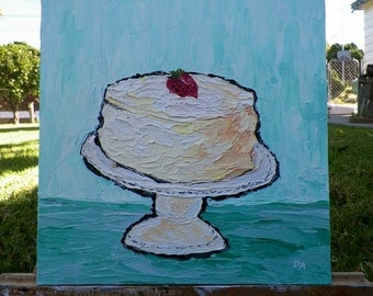Frosted Cake with Strawberry on Pedestal Cake Plate Original Oil Painting 12 x 12 Impasto Art in Oils by debra alouise