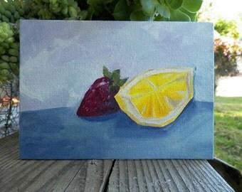 Strawberry Lemonade Slice Original Oil Painting